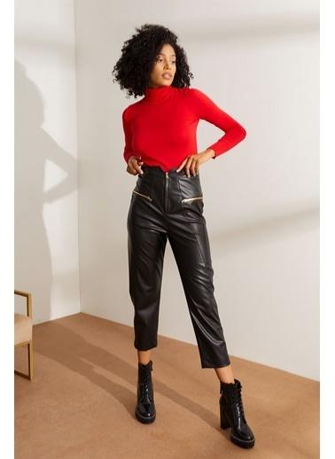 Setre Haki Yüksek Bel Fermuarlı Deri Pantolon Siyah